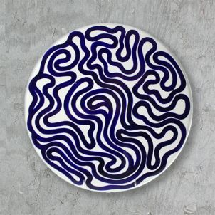 Sol LeWitt Cake/Cheese Platter - Blue Curve