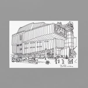 Whitney Building Drawing by Jason Polan Postcard