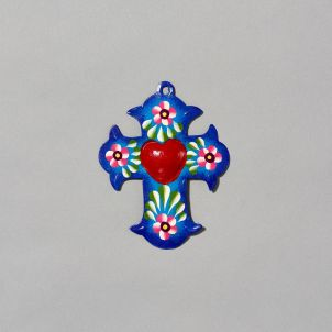 Painted Cross with Corazón Tin
