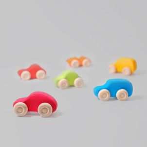 Colored Wooden Cars Set