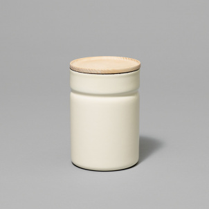 Enamel Canister with Wood Lid- Small and Tall