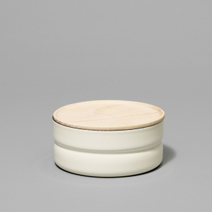 Enamel Canister with Wood Lid- Large and Short