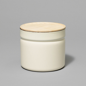 Enamel Canister with Wood Lid- Medium Tall