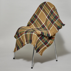 Wheat Stewart Tartan Cotton Throw Blanket from Amana Woolen Mills