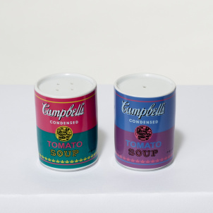 Andy Warhol Tomato Soup Can Porcelain Salt and Pepper Shaker Set