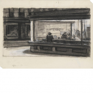 Edward Hopper, Study for Nighthawks, medium (20.2 x 26 in.) print