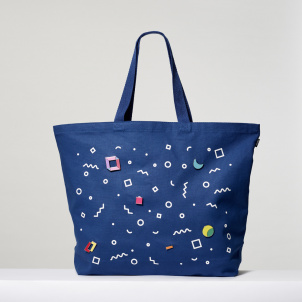 Blue Tote with Pins
