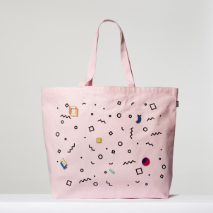 Pink Tote with Pins