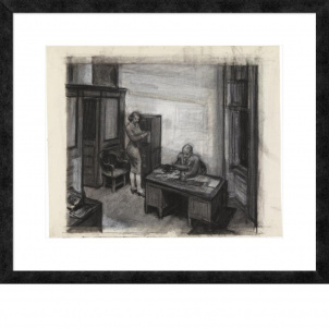 Edward Hopper, Study for Office at Night, medium (21.9 x 26 in.) print, framed