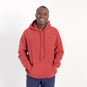 Medium Red Hue Hand-Dyed and Unique Noah Hoodie