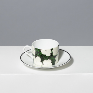 Andy Warhol White Flowers Porcelain Tea Cup and Saucer Set