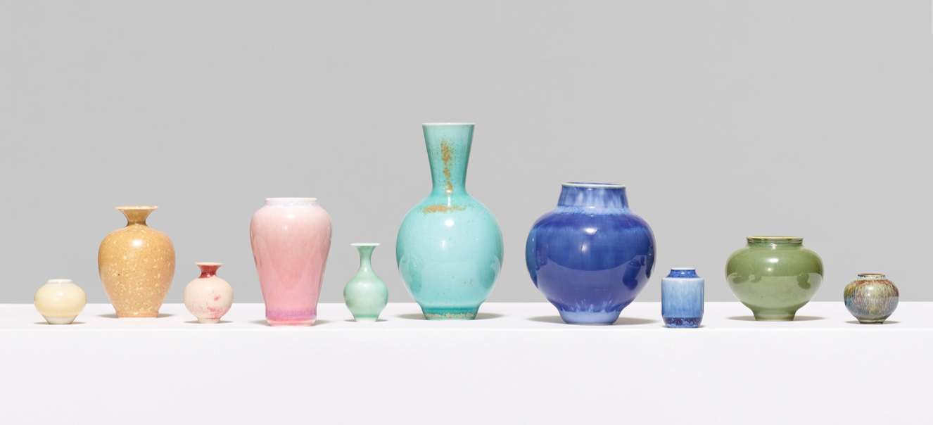 collection of colorful glass pots