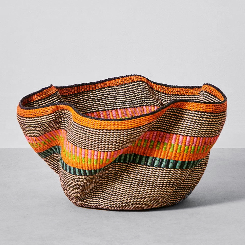 A colorful hand woven basket