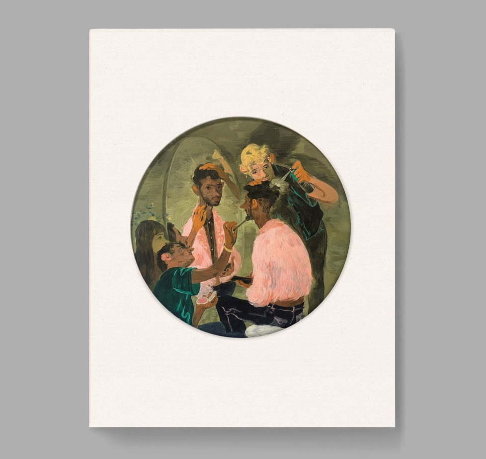 The cover of Salmon Toor's show catalogue with a cover painting of three men seated at a vanity