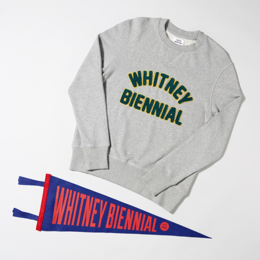 Whitney Biennial collegiate sweater and banner