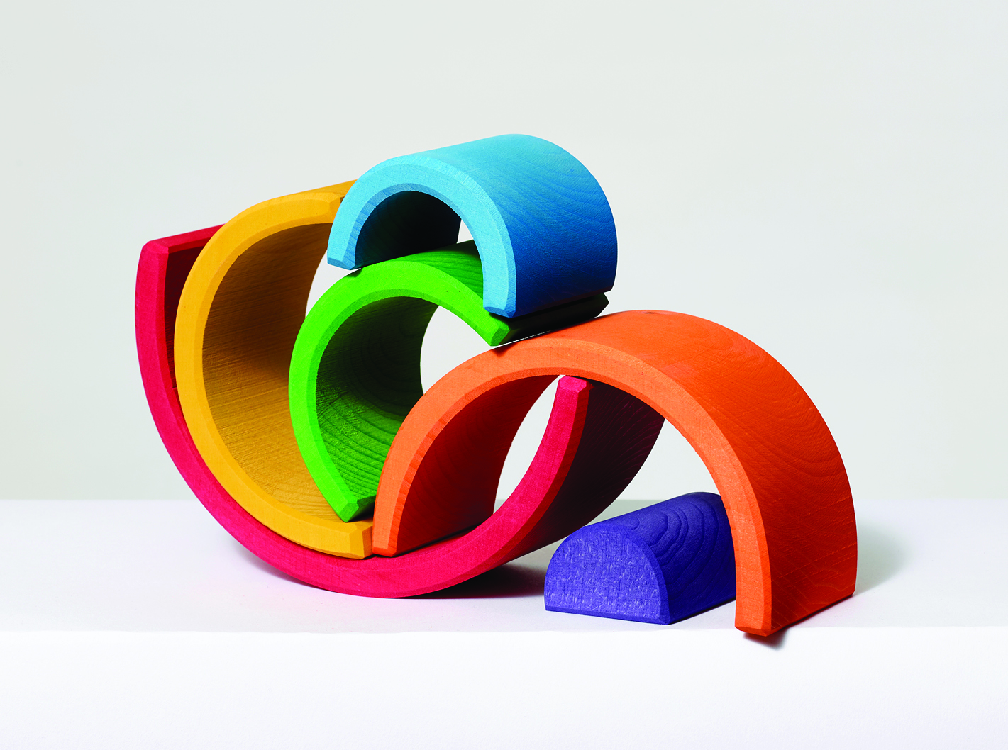 Stack of brightly colored wooden blocks