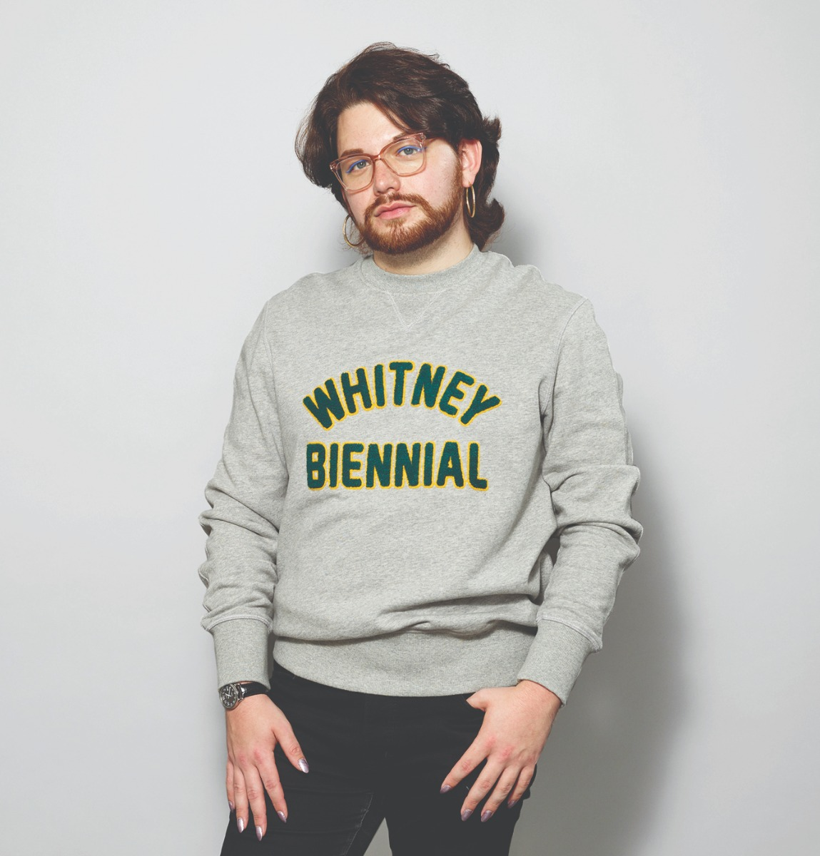 Whitney Biennial sweatshirt worn by model